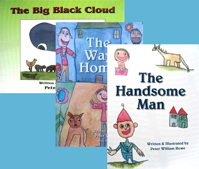 The Big Black Cloud, The Way Home and The Handsome Man children's book bundle by Peter Rowe