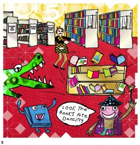 Josh Goes to the Library by Peter Rowe, page 5
